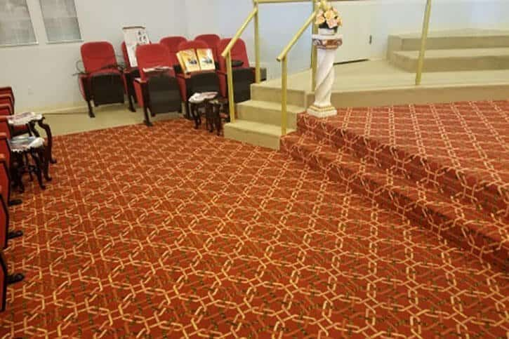 cleaning carpets in church